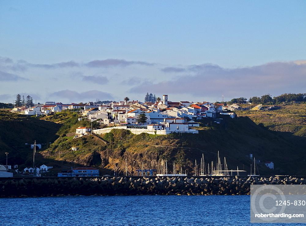 Vila do Porto seen from the ocean, Santa Maria Island, Azores, Portugal, Atlantic, Europe