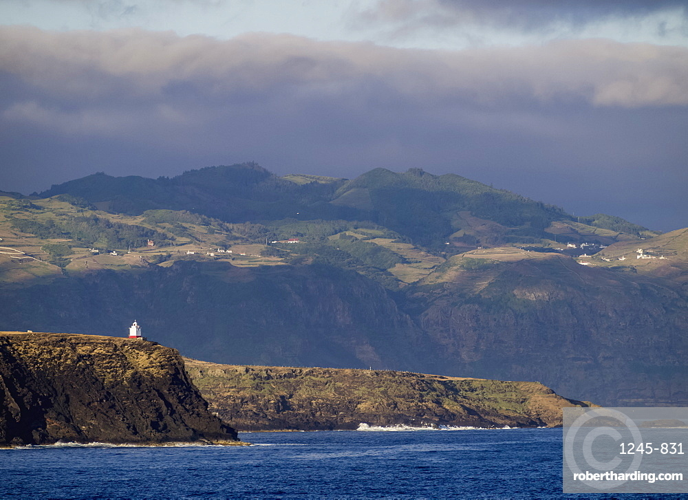 Coast of Santa Maria Island seen from the ocean, Azores, Portugal
