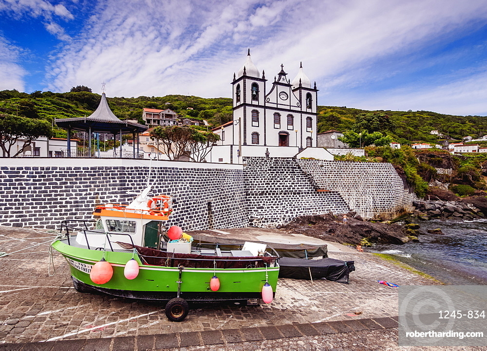 Church of Sao Sebastiao and Port in Calheta de Nesquim, Pico Island, Azores, Portugal, Atlantic, Europe