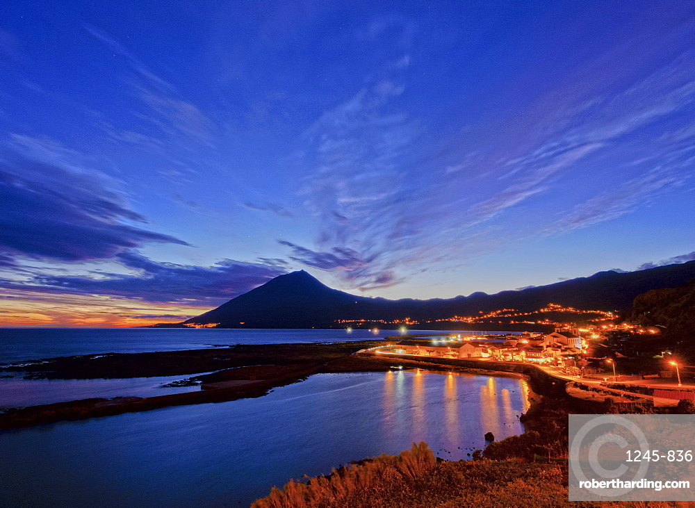 Lajes do Pico and Pico Mountain at dusk, Pico Island, Azores, Portugal