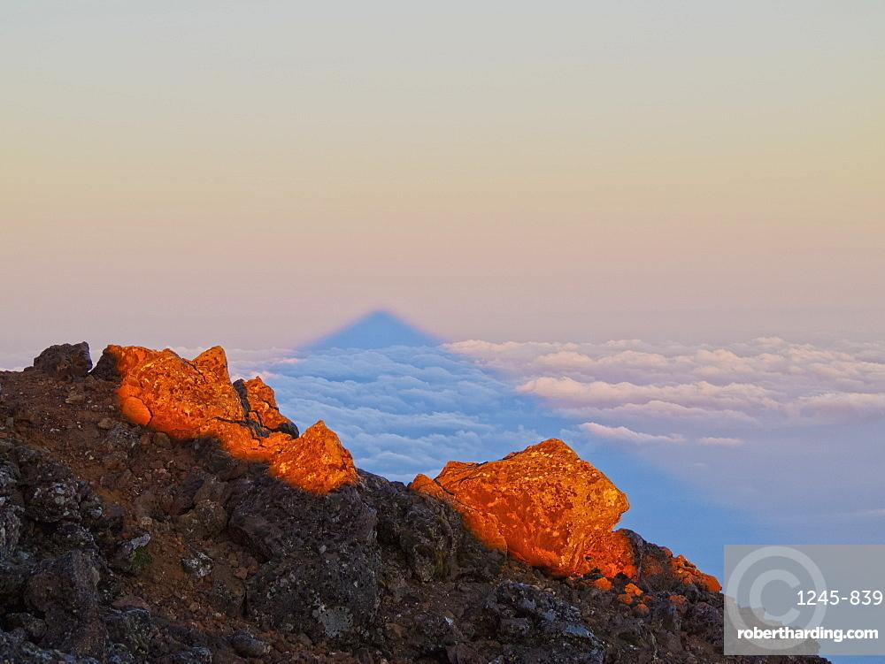 Shadow of Mount Pico at sunrise, Pico Island, Azores, Portugal, Atlantic, Europe