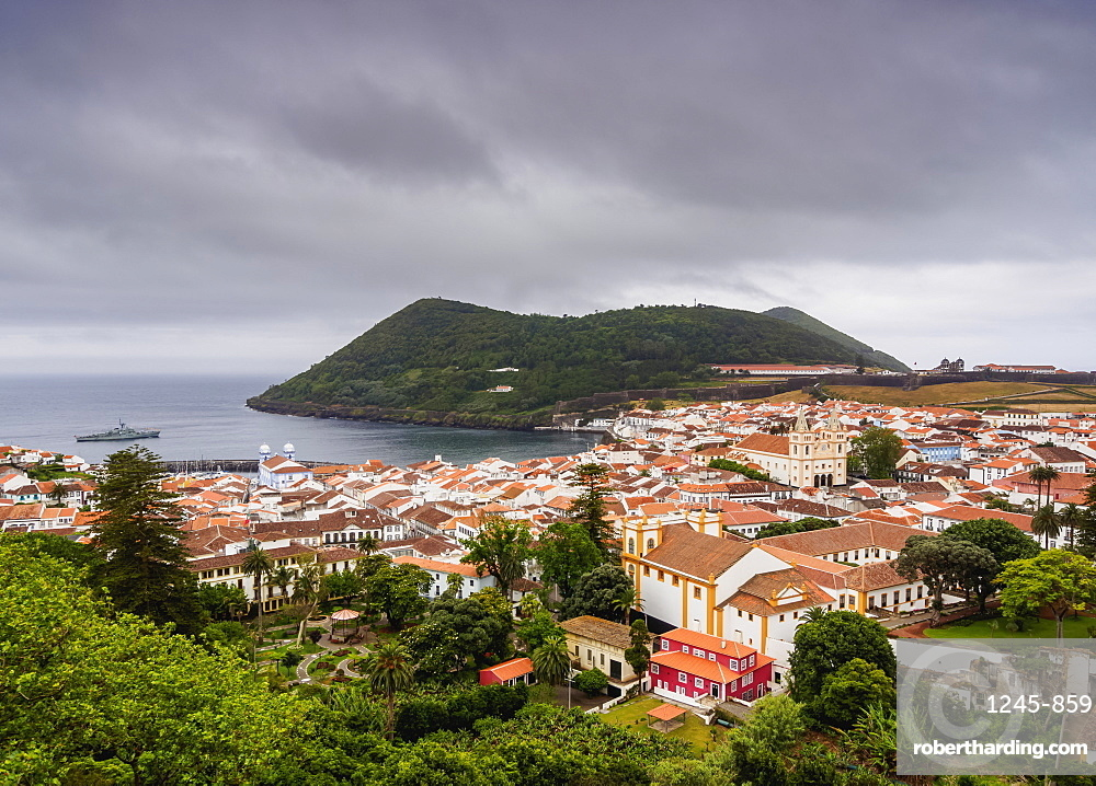 Angra do Heroismo, elevated view, Terceira Island, Azores, Portugal, Atlantic, Europe