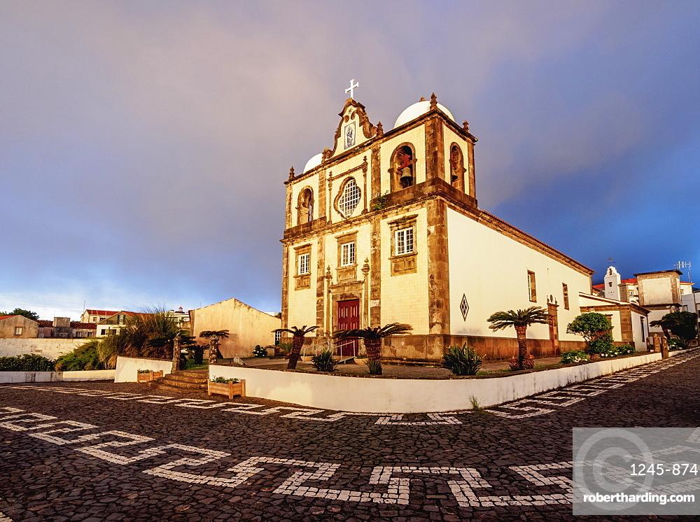 Church in Lajes das Flores at sunrise, Flores Island, Azores, Portugal, Atlantic, Europe