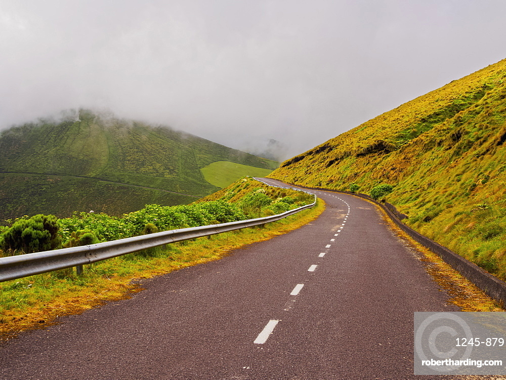 Road on Flores Island, Azores, Portugal
