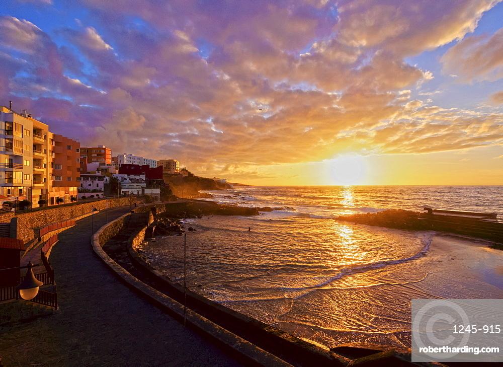 Bajamar at sunset, Tenerife Island, Canary Islands, Spain, Atlantic, Europe