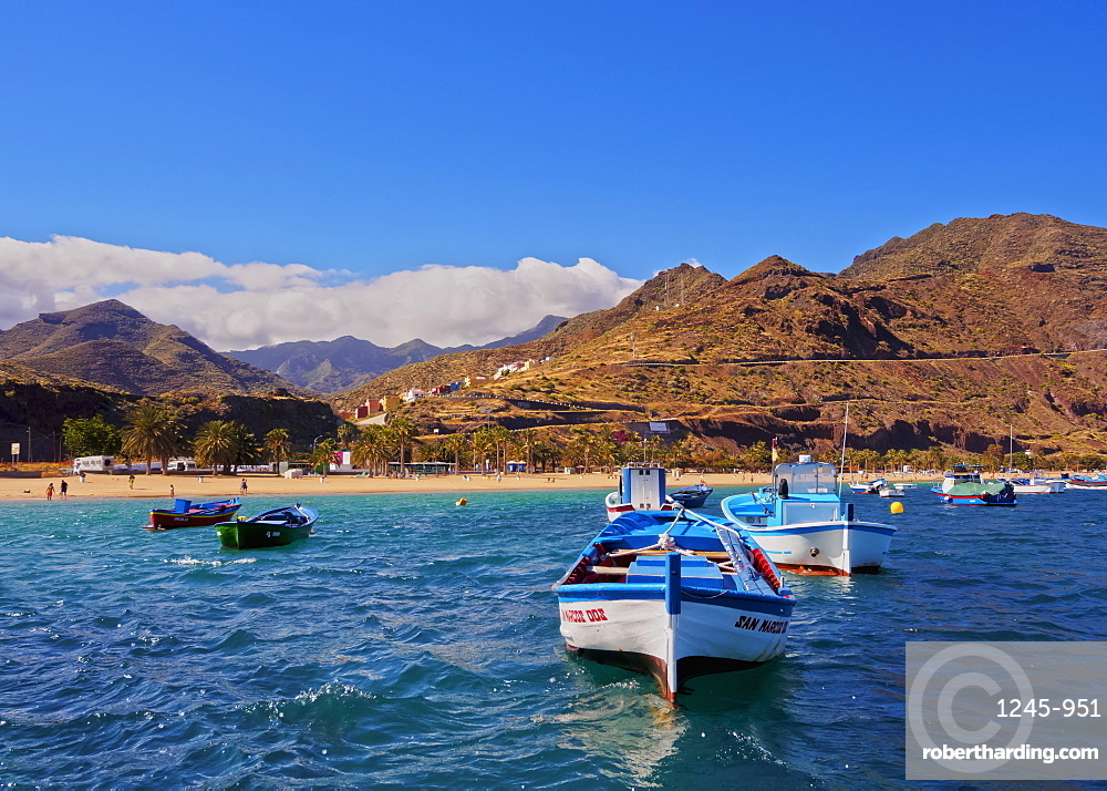 Colourful fishing boats by the Las Teresitas Beach, San Andres, Tenerife Island, Canary Islands, Spain