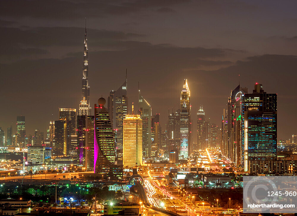 Financial Centre and Downtown at dusk, elevated view, Dubai, United Arab Emirates, Middle East