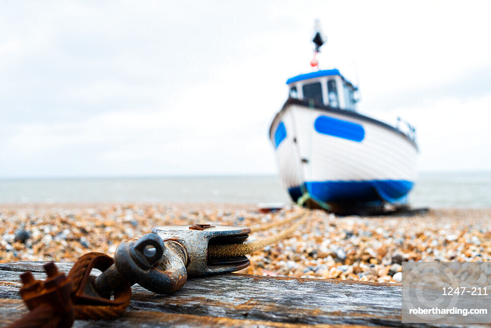 March 2019, Dungeness, Kent, England, the fishing boat is anchored to the block and tackle