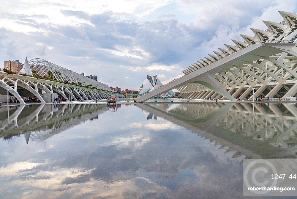 A buggy has a perfect reflection at the Valencia City of Arts and Sciences, Valencia, Spain, Europe