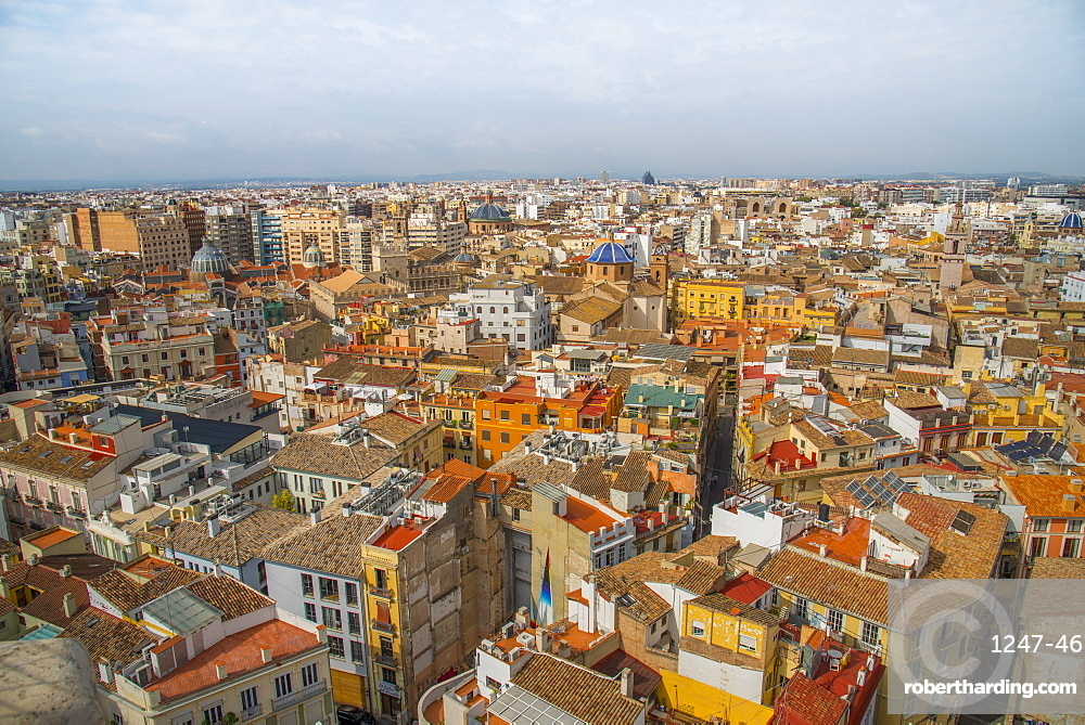 The view over Valencia from Valencia Cathedral, Valencia, Spain, Europe