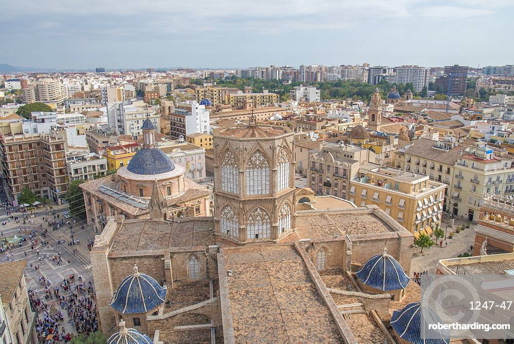 A view of the Diocesan Museum of Valencia Cathedral roof from the Valencia Cathedral, Valencia, Spain, Europe