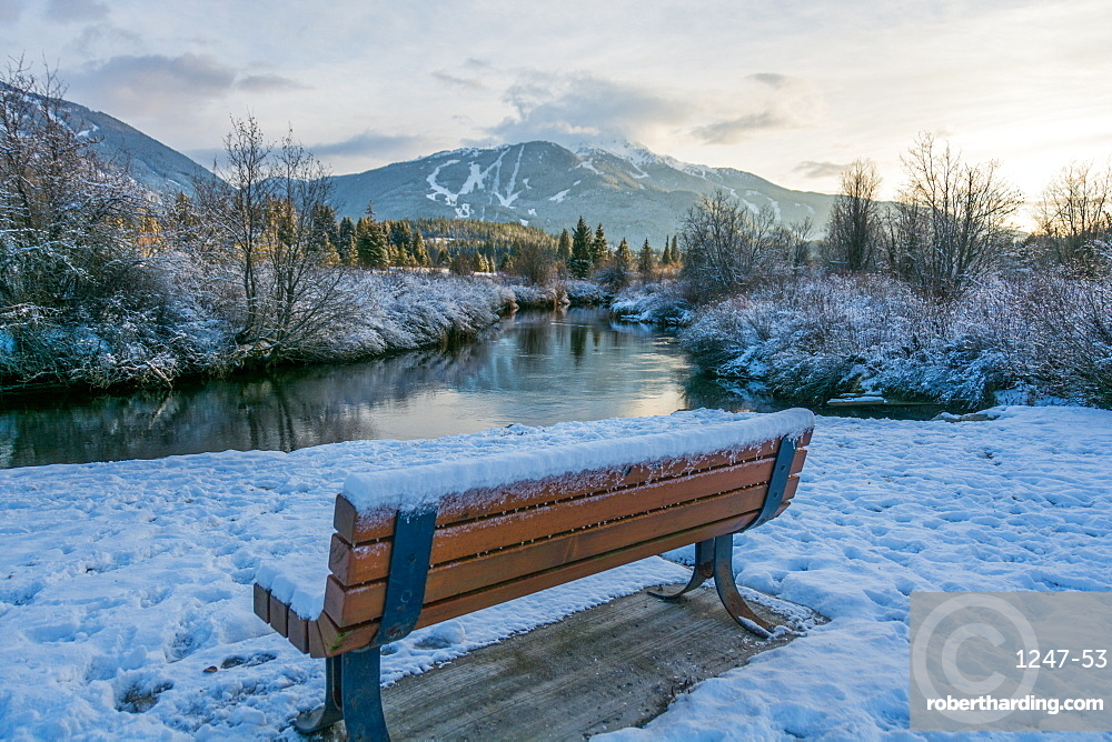 Snow covered bench at Meadow Park with views of the River of Golden Dreams and Whistler Mountain in Whistler, British Columbia, Canada, North America