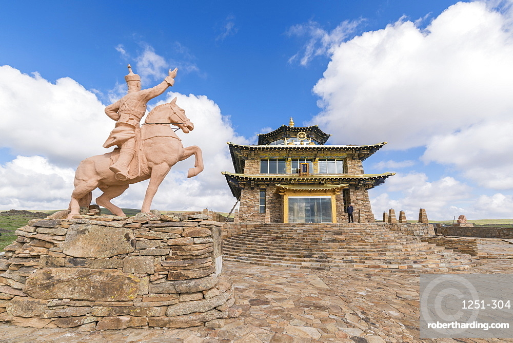 Tsorjiin Khureenii temple and Genghis Khan statue, Middle Gobi province, Mongolia, Central Asia, Asia