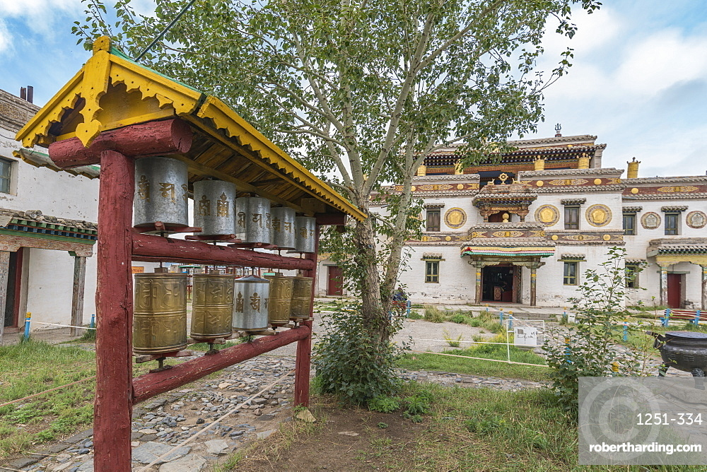 Prayer wheels in the gardens of Erdene Zuu Buddhist monastery. Harhorin, South Hangay province, Mongolia.