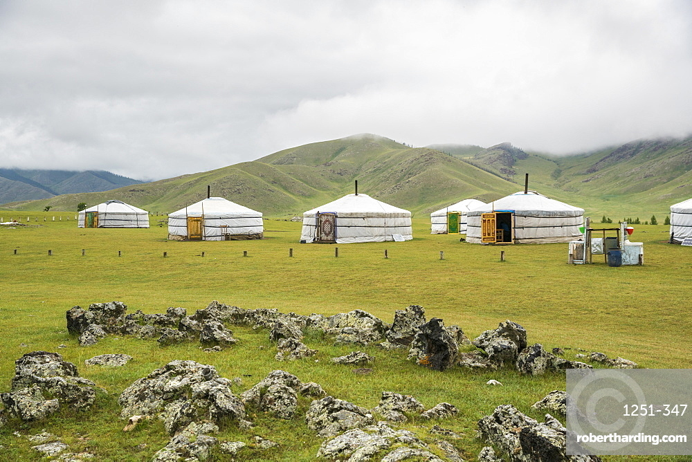 Nomadic family ger camp, Orkhon valley, South Hangay province, Mongolia, Central Asia, Asia
