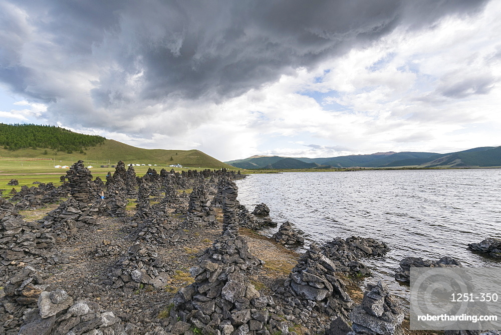 Volcanic rock formations on the shores of White Lake, Tariat district, North Hangay province, Mongolia, Central Asia, Asia