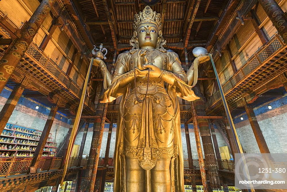 Avalokitesvara statue in Gandan monastery. Ulan Bator, Mongolia.