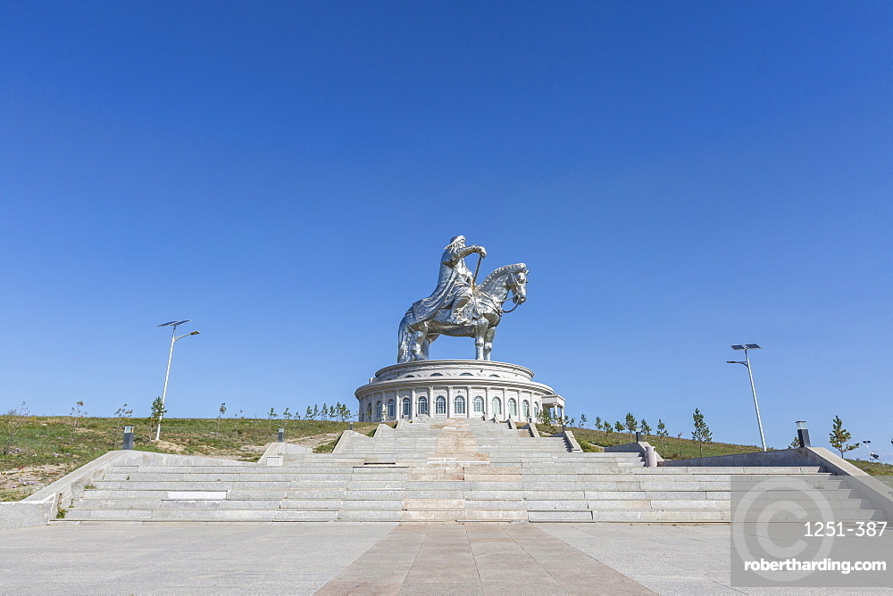 Stairs to Genghis Khan Statue Complex, Erdene, Tov province, Mongolia, Central Asia, Asia