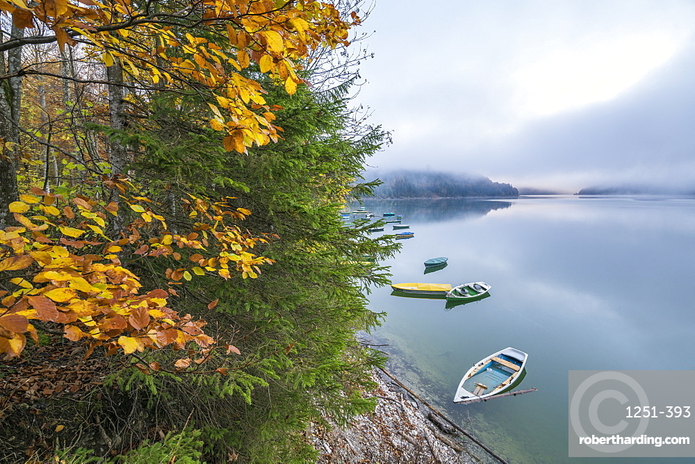 Boats on Sylvenstein Lake in autumn. Bad Tölz-Wolfratshausen district, Bavaria, Germany.