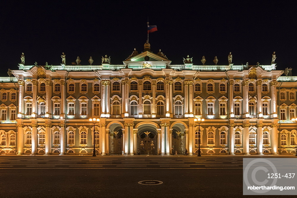 Winter Palace in Palace square at night. Saint Petersburg, Russia.