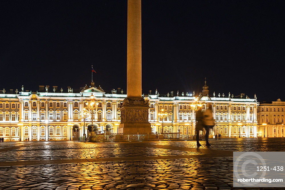Winter Palace and Alexander column in Palace square at night. Saint Petersburg, Russia.