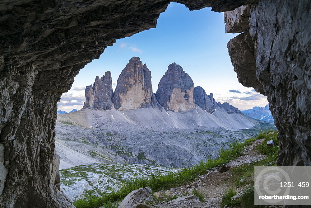 View from rock cave of Three Peaks of Lavaredo in Italy, Europe