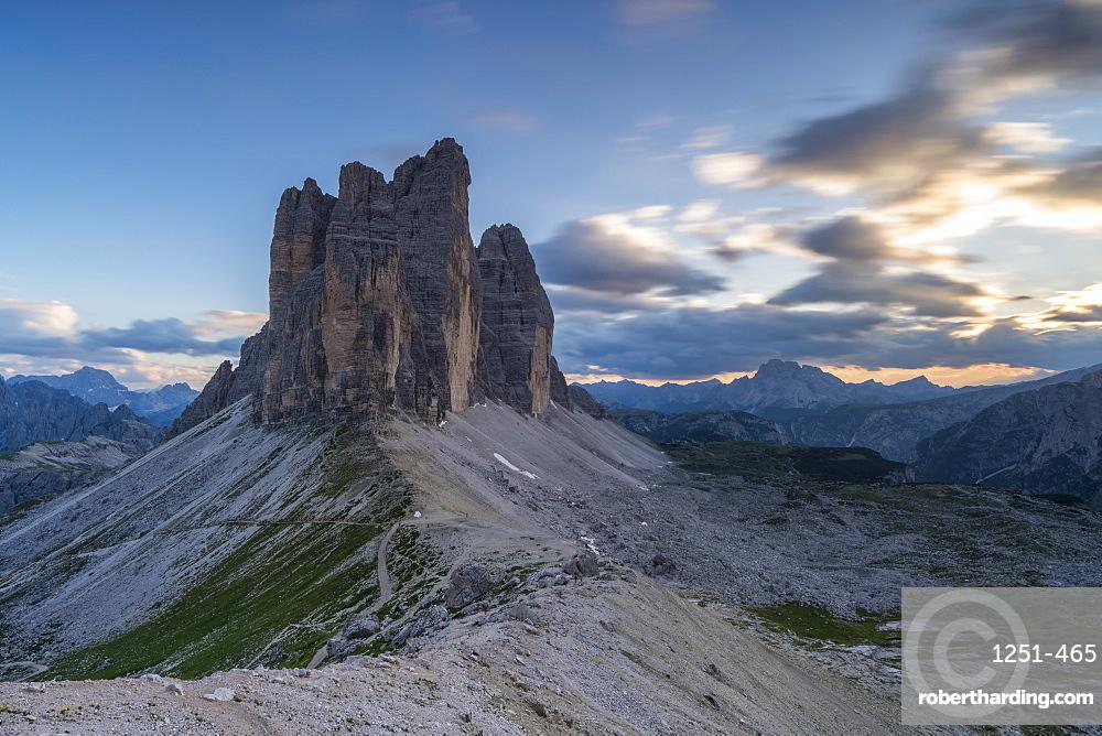 Three Peaks of Lavaredo at sunset in Italy, Europe
