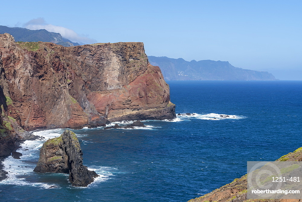 Rocks and cliffs on the Atlantic Ocean at Point of St Lawrence. Canical, Machico district, Madeira region, Portugal.