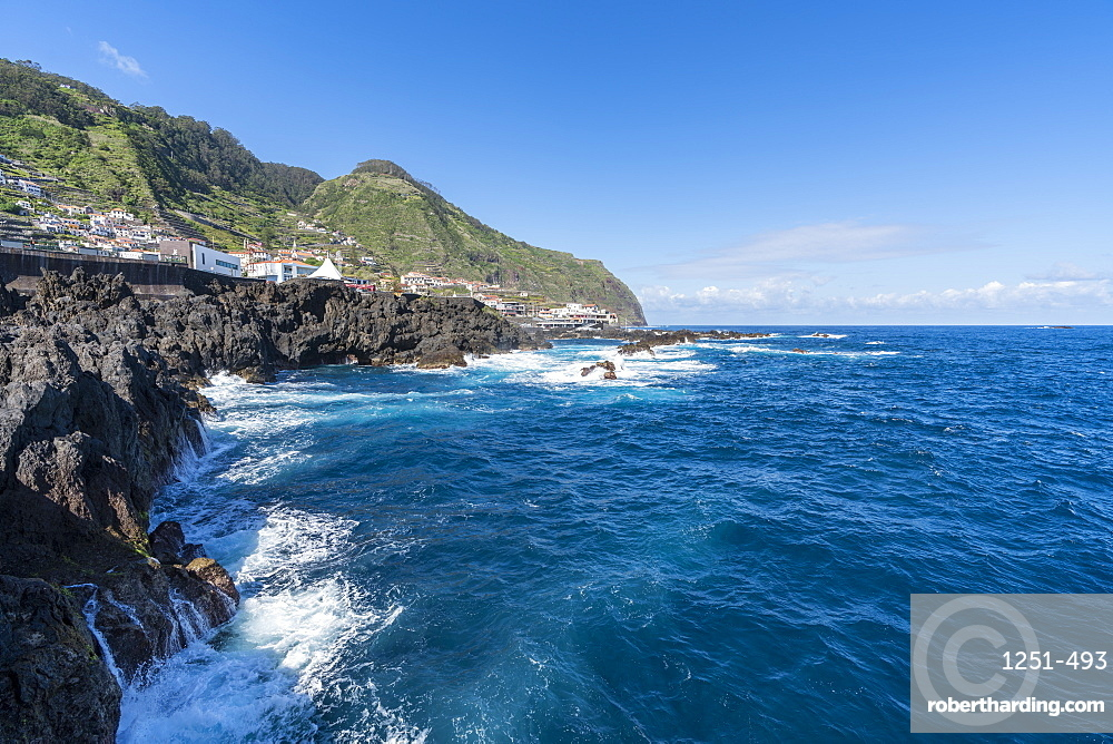 View of Porto Moniz and its cliffs. Madeira region, Portugal.