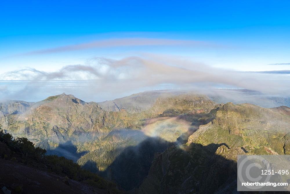 Clouds and mountains seen from Pico Ruivo. Achada do Teixeira, Santana municipality, Madeira region, Portugal.