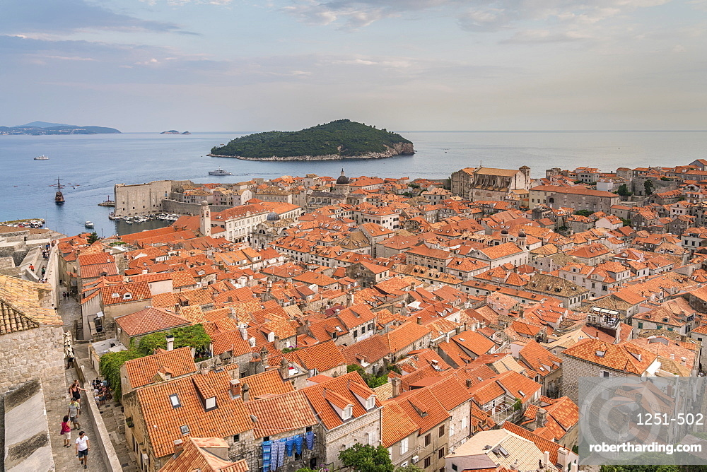 View on the old town and Lokrum island in summer. Dubrovnik, Dubrovnik - Neretva county, Croatia.