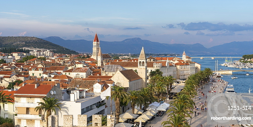View of the old town and seafront from Karmelengo tower. Trogir, Split - Dalmatia county, Croatia.