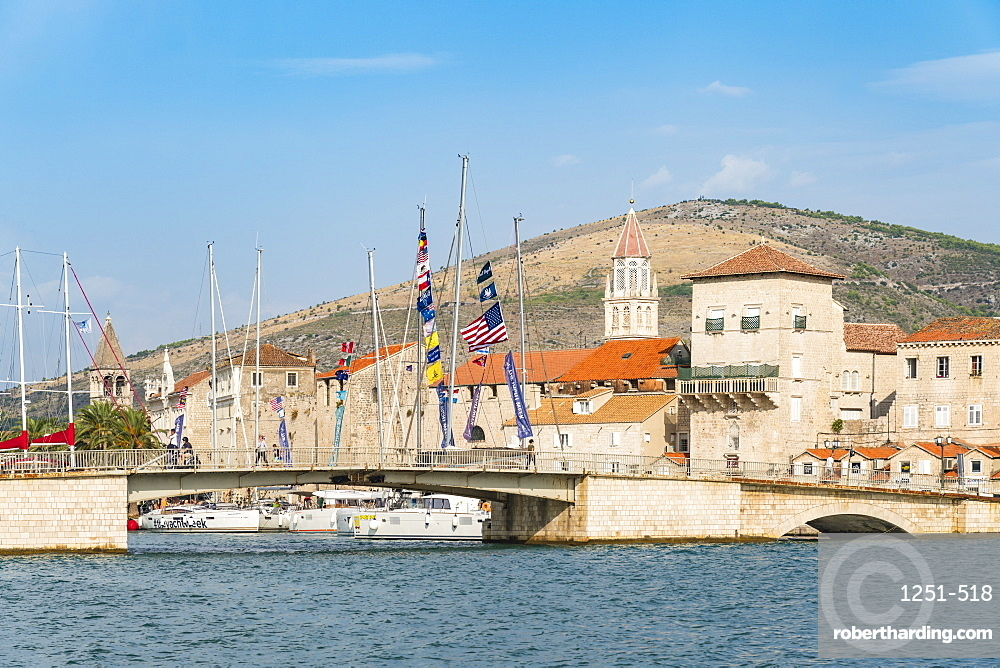 Sailing boats and the bridge that connects the old town to the island of Ciovo. Trogir, Split - Dalmatia county, Croatia.