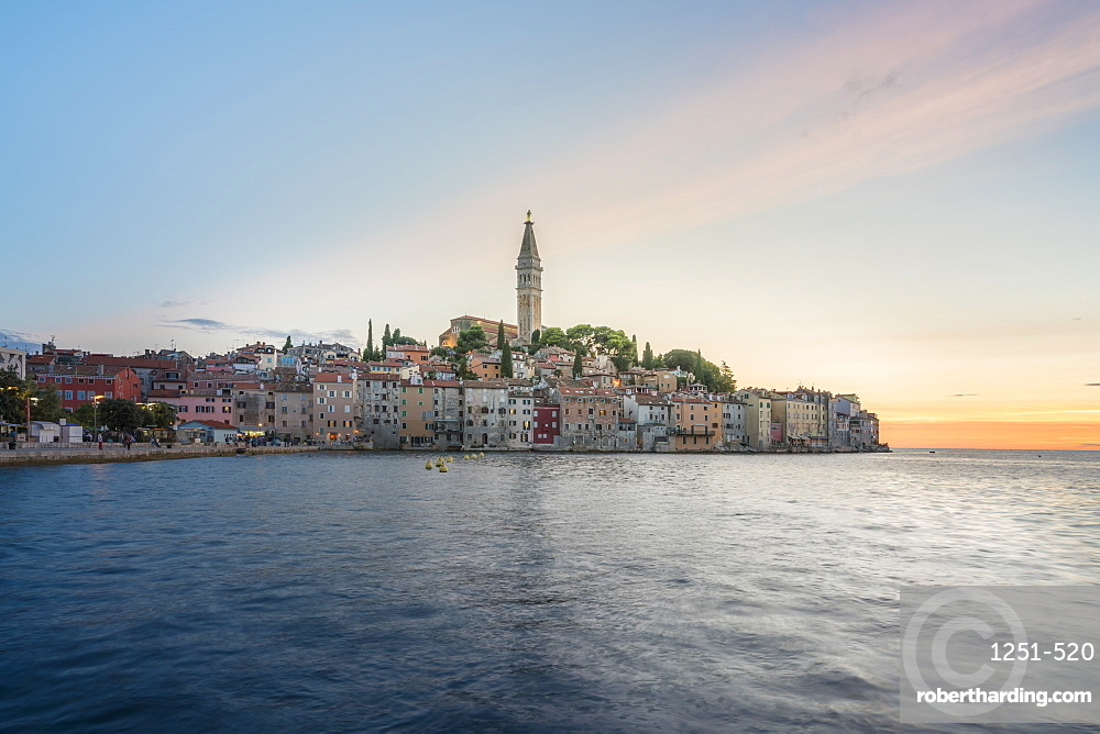 The old town at sunset, in summer. Rovinj, Istria county, Croatia.