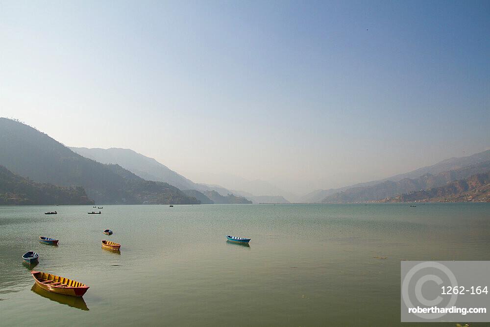 Boats on Fewa Lake (Phewa Lake), Pokhara, Pokhara Valley, Nepal, Asia