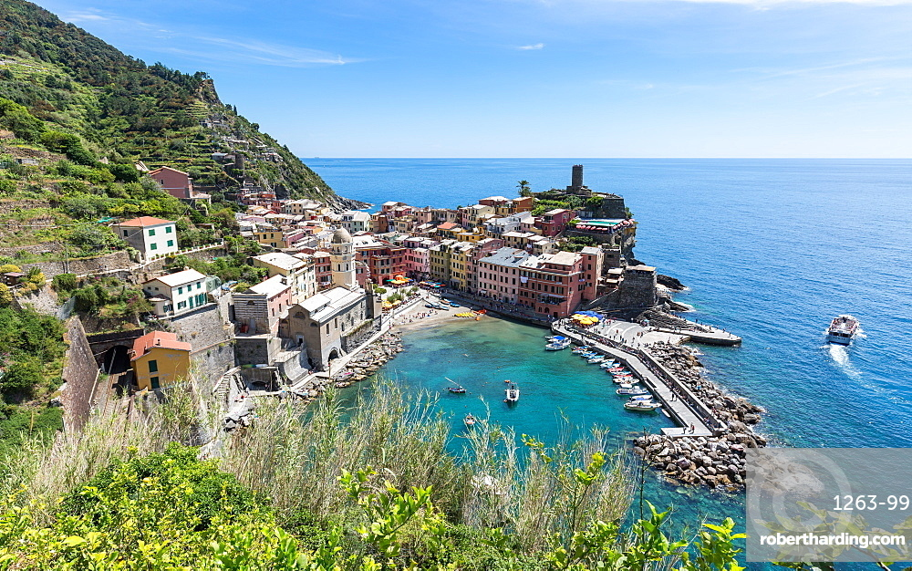 A scenic lookout over the harbour and old town of Vernazza, Cinque Terre, UNESCO World Heritage Site, Liguria, Italy, Europe