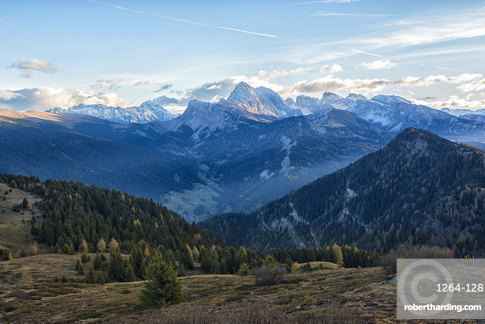 Odle mountain range, Seceda and Sass Rigais at sunrise, Trentino, Italy, Europe