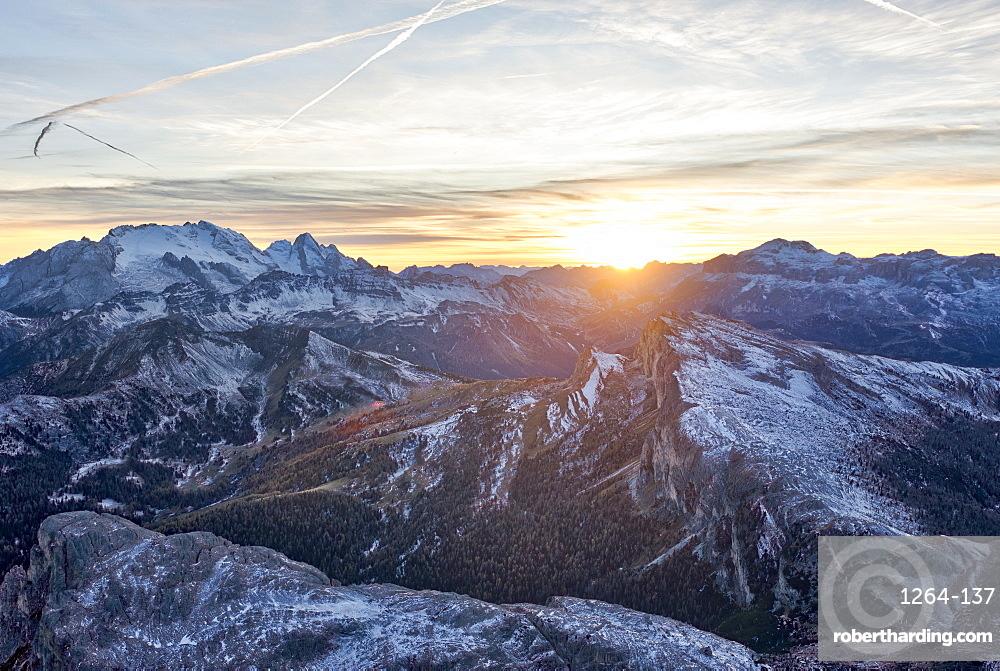 Marmolada at sunset, Dolomites, Veneto, Italy, Europe