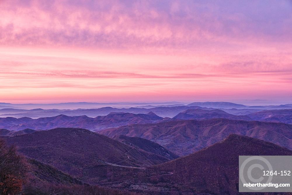 Italy, Umbria, Catria, Apennines' layers at sunrise