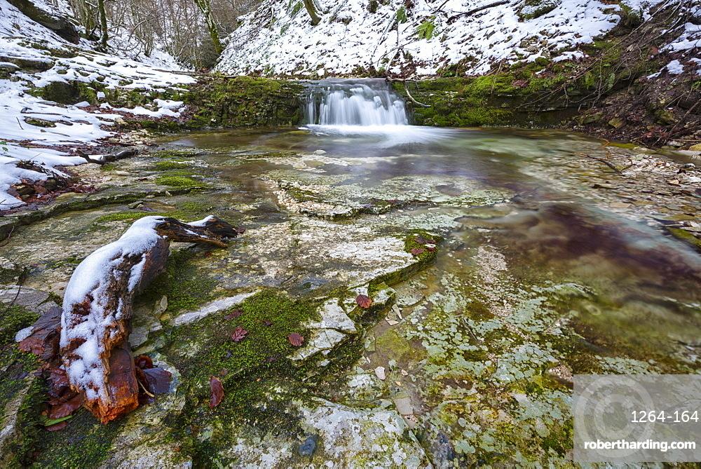Rio Freddo river in Monte Cucco in winter, Apennines, Umbria, Italy, Europe
