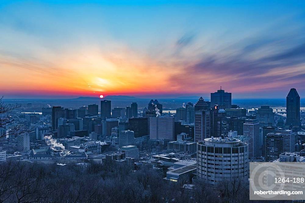 Sunrise over the city, Montreal, Quebec, Canada, North America