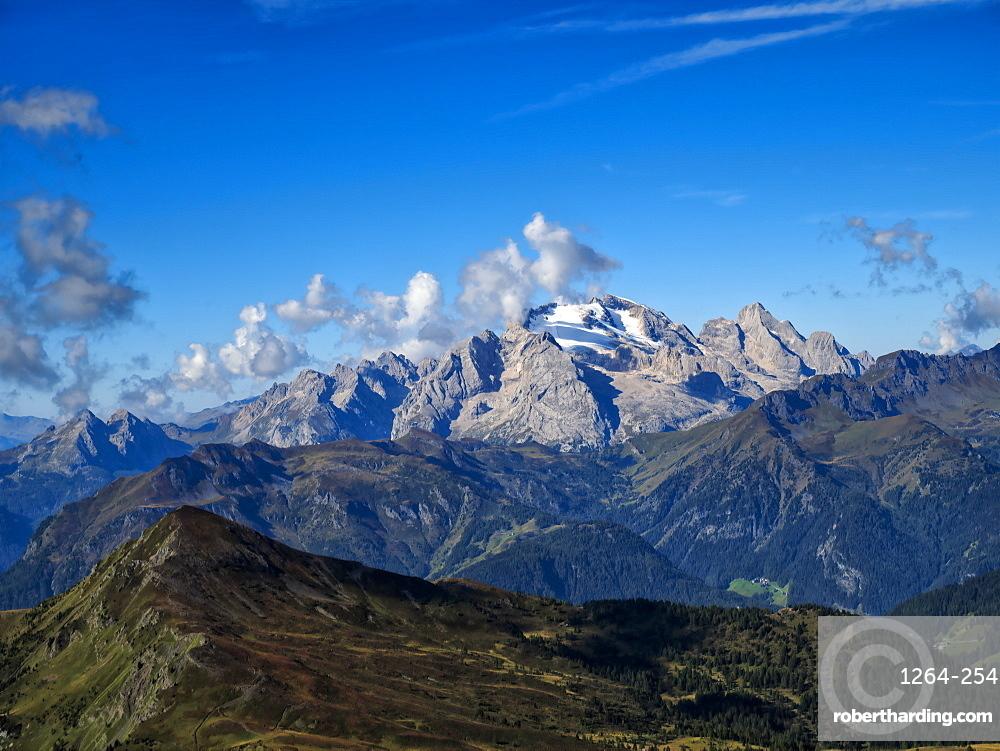 Giau Pass, Marmolada from the top of Mount Gusela, Dolomites, Veneto, Italy, Europe
