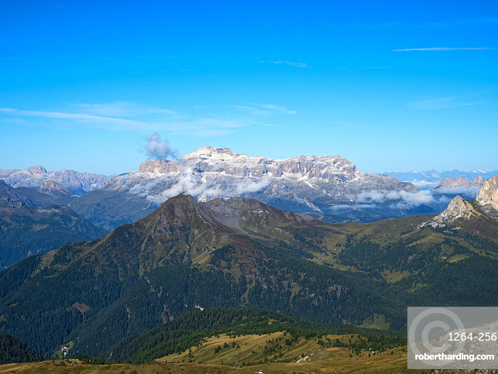 Giau Pass, Sella group from the top of Gusela, Dolomites, Veneto, Italy, Europe