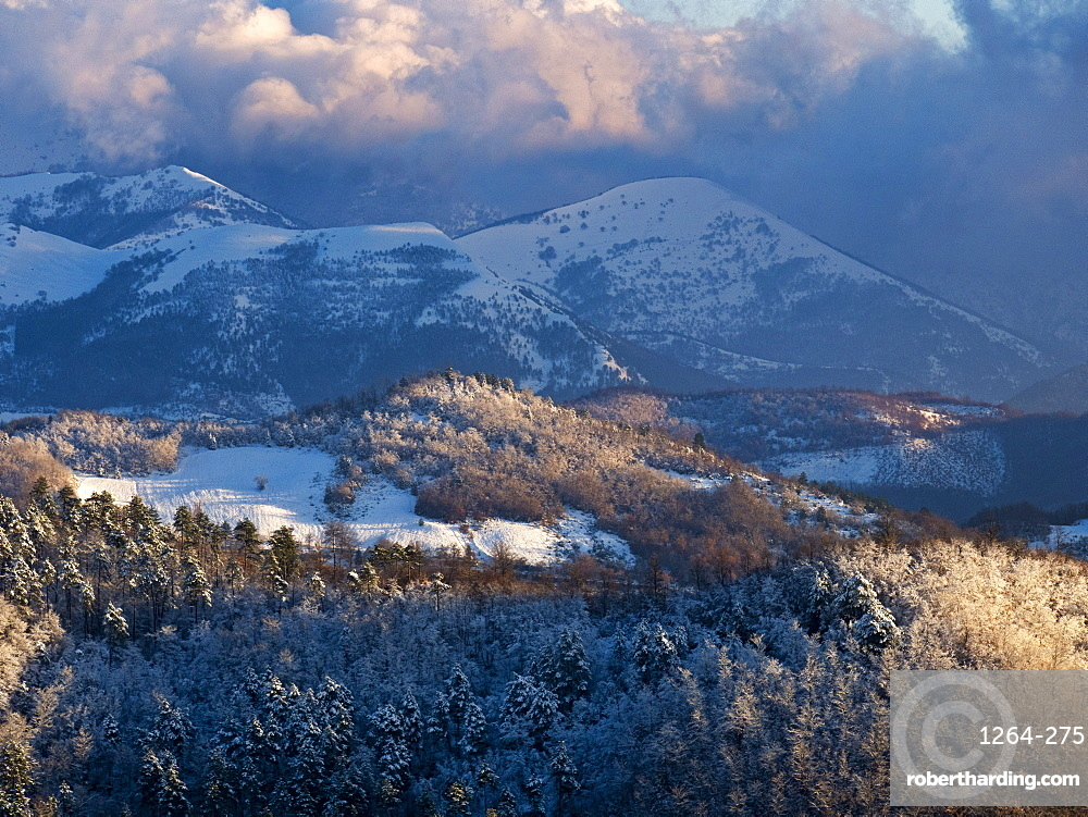 Snow on the Apennines in winter, Gubbio, Umbria, Italy, Europe
