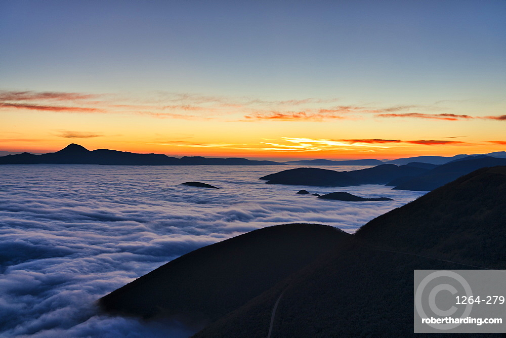 Mount San Vicino at dusk seen from Mount Cucco, Apennines, Marche, Italy, Europe
