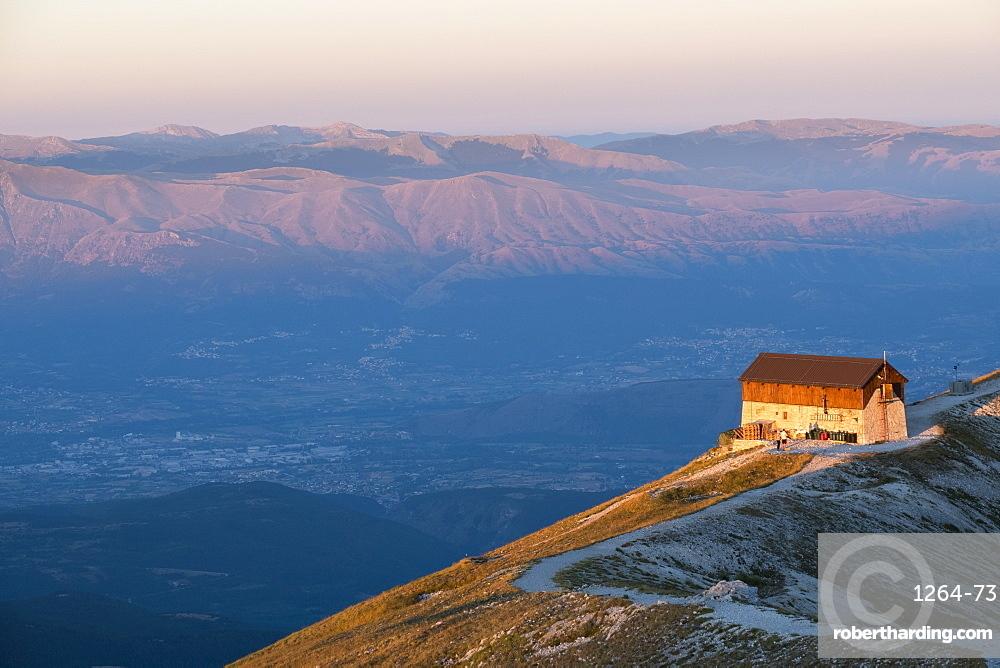 Duca degli Abruzzi mountain hut at sunrise, Gran Sasso e Monti della Laga National Park, Abruzzo, Italy, Europe