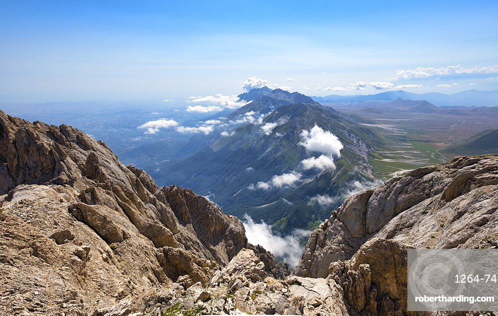 Panorama from the summit of Corno Grande peak, Gran Sasso e Monti della Laga National Park, Abruzzo, Italy, Europe