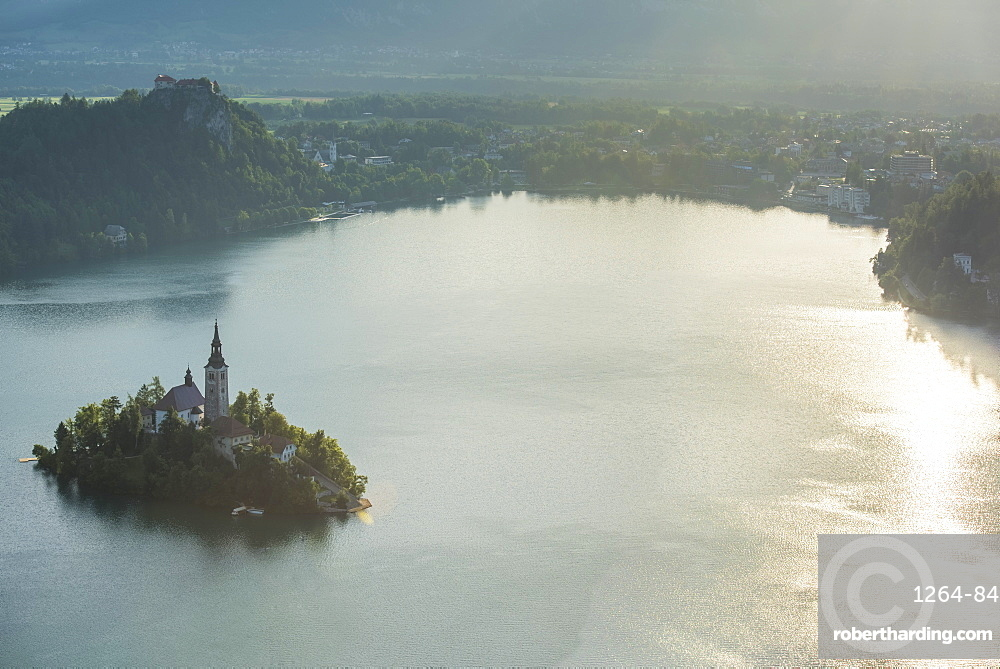 Bled Island and Church of the Assumption of Maria at sunrise, Bled, Slovenia, Europe