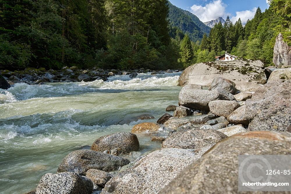 River Sarca and Adamello mountain range, Genova Valley, Trentino, Italy, Europe