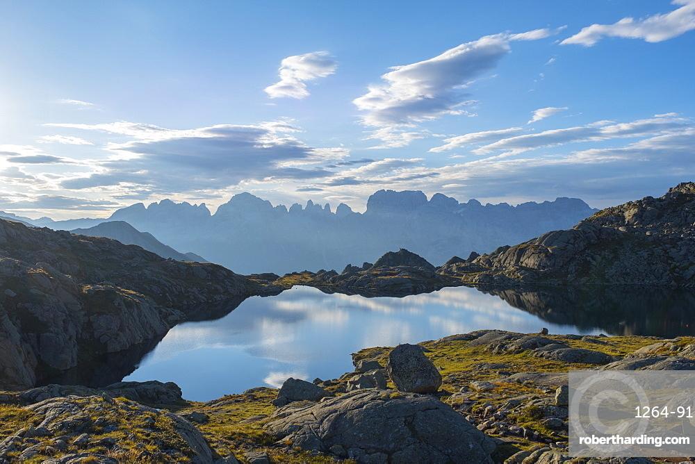 Lake Nero and Brenta mountain range at sunrise, Rendena Valley, Trentino, Italy, Europe